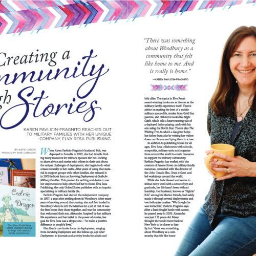 Creating a Community through Stories feature article in Woodbury Magazine about Karen Pavlicin-Fragnito and her impact on local and national community through her company Elva Resa Publishing